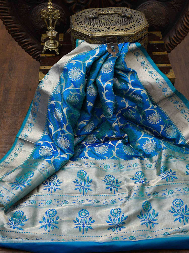 Beautiful Peacock Blue Floral Zari Jaal Pure Katan Silk Banarasi Saree - Sacred Weaves