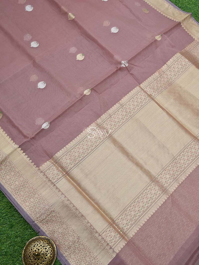 Onion Pink Color Sona Rupa Zari Border Pure Organza Banarasi Saree - Sacred Weaves