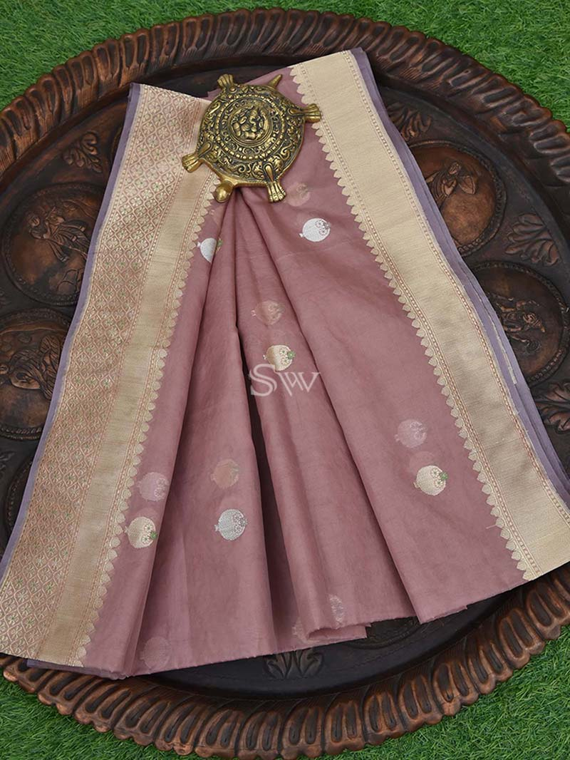 Onion Pink Organza Handloom Banarasi Saree - Sacred Weaves