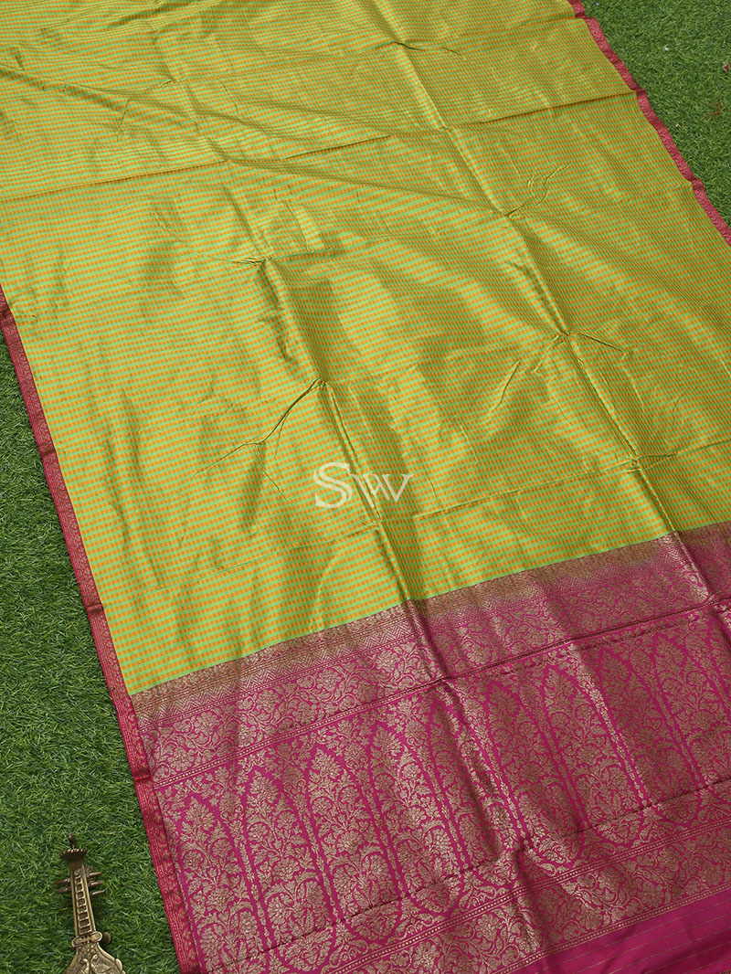 Yellow-Green Katan Silk Handloom Banarasi Saree - Sacred Weaves