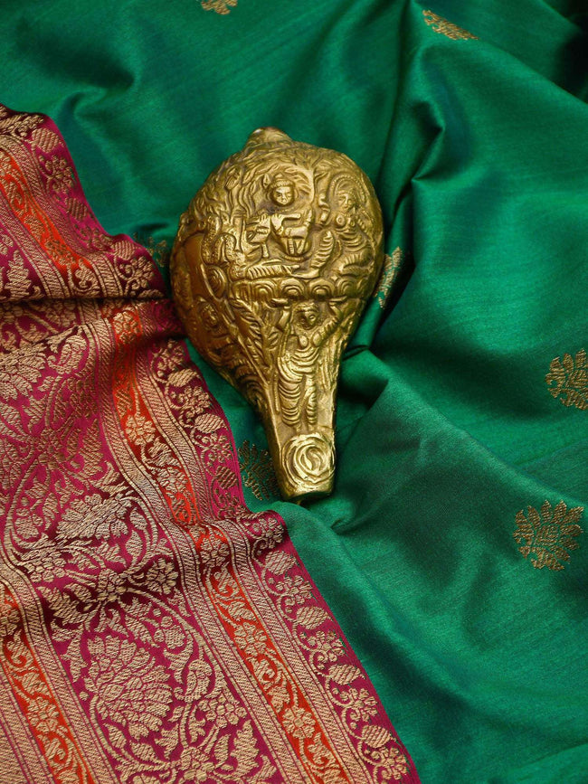 Emrald Green Color Pure Tussar Silk Banarasi Saree - Sacred Weaves