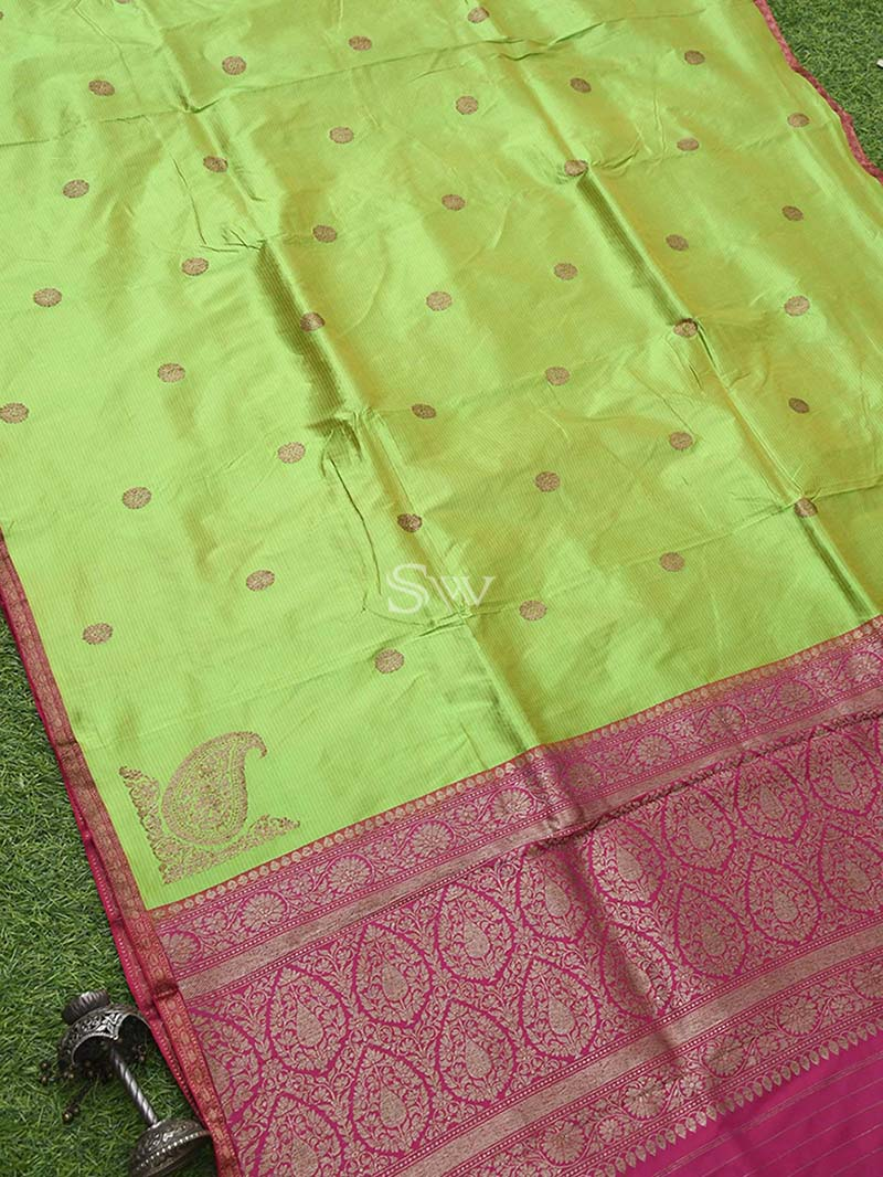 Green Stripe Katan Silk Banarasi Handloom Saree - Sacred Weaves