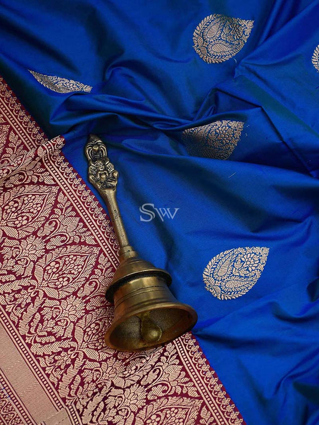 Royal Blue Color Contrast Gold Zari Boota Pure Katan Silk Banarasi Saree - Sacred Weaves