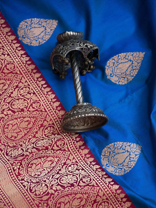 Royal Blue Gold Zari Boota Broad Border Pure Katan Silk Banarasi Saree - Sacred Weaves