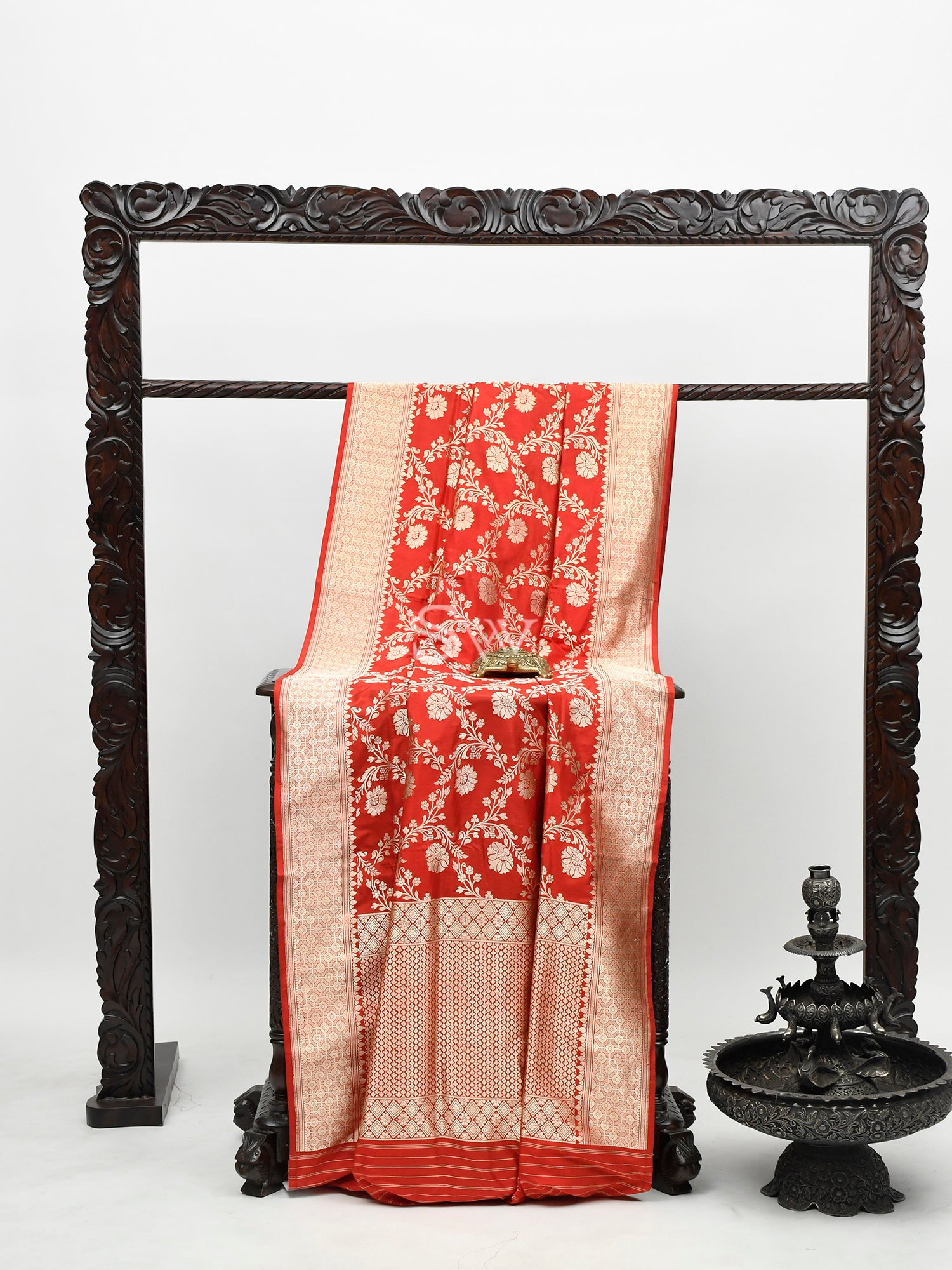 Red Katan Silk Handloom Banarasi Saree-Sacred Weaves