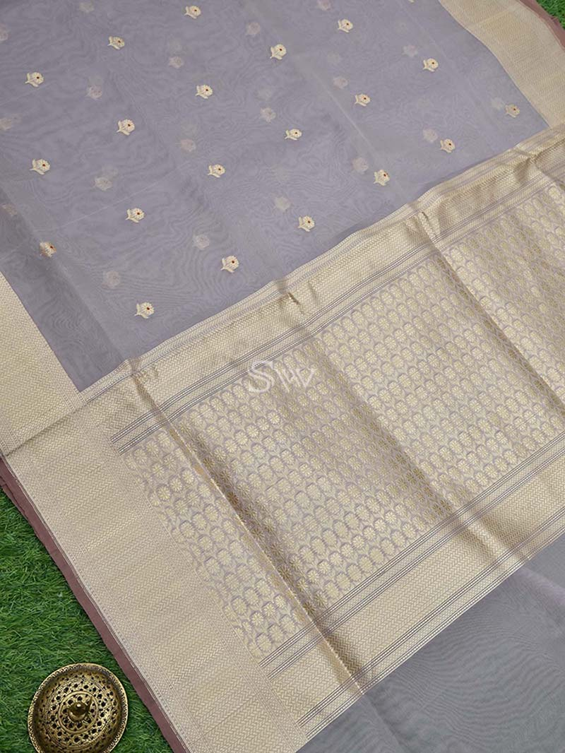 Smoky Grey Organza Handloom Banarasi Saree - Sacred Weaves