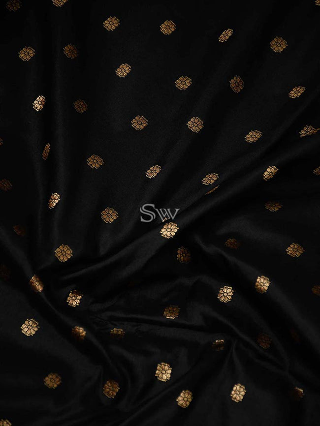 Black Contarst Shikargah Broad Border Pure Katan Silk Banarasi Saree - Sacred Weaves