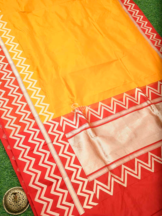 Mustard Gold Zari Skirt Border Pure Katan Silk Banarasi Saree - Sacred Weaves