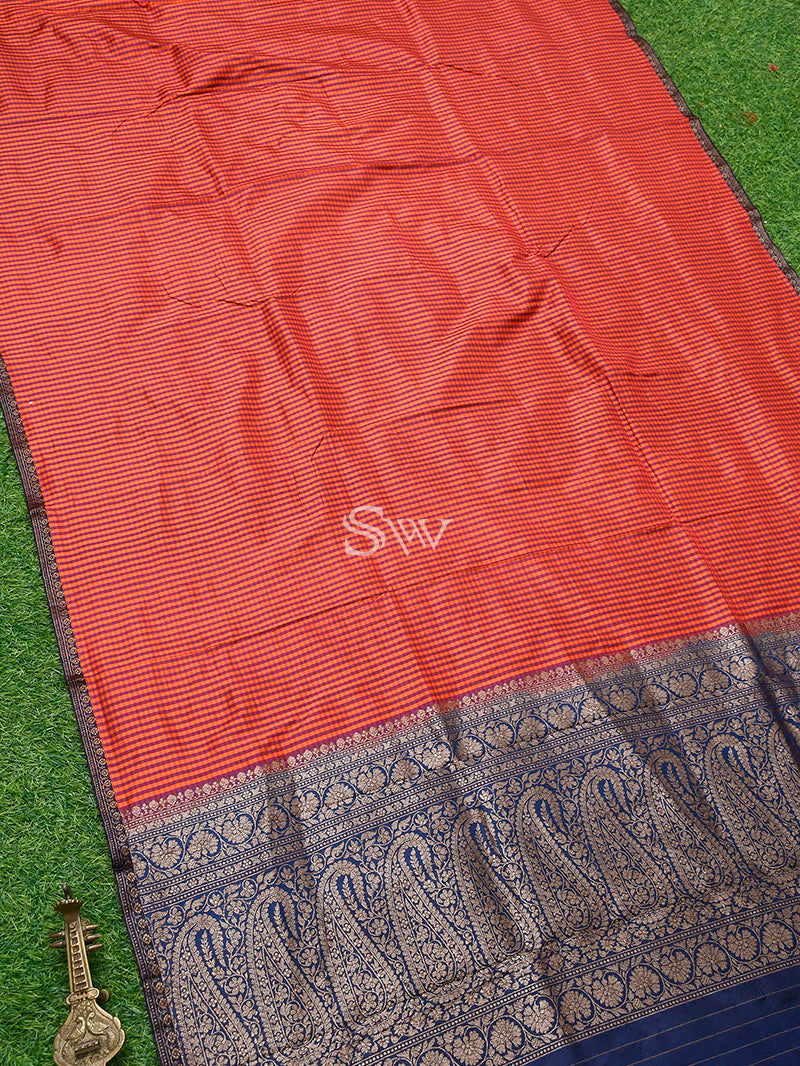 Orange-Purple Katan Silk Handloom Banarasi Saree - Sacred Weaves