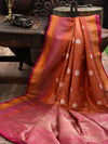 Rust Katan Silk Brocade Banarasi Handloom Saree
