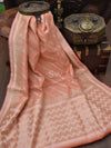 Beautiful Peach Color Gold Zari Border Cotton Silk Chanderi Saree - Sacred Weaves