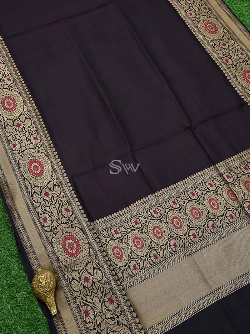 Wine Dupion Silk Handloom Banarasi Saree - Sacred Weaves