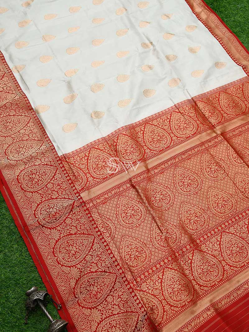 Classic White Gold Zari Boota Broad Border Pure Katan Silk Banarasi Saree - Sacred Weaves