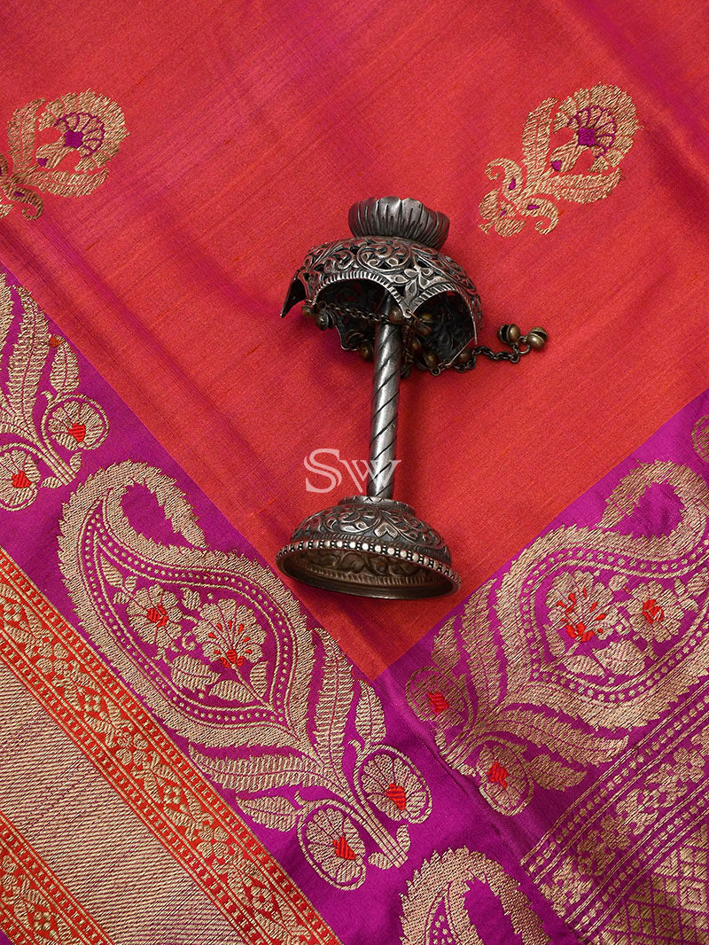 Pink Orange Meenakari Tussar Silk Handloom Banarasi Saree - Sacred Weaves