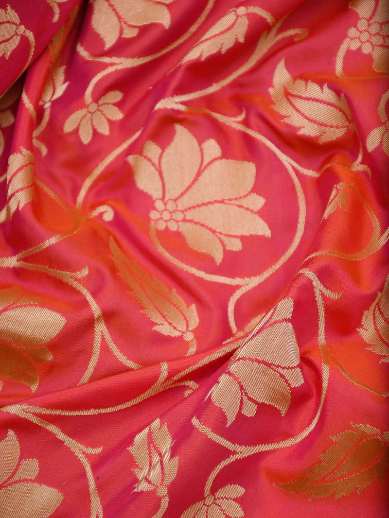 Vibrant Pink Orange Dual Color Paithani Design Pure Katan Silk Banarasi Saree - Sacred Weaves