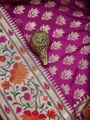 Purple Color Paithani Design Pure Katan Silk Banarasi Saree - Sacred Weaves