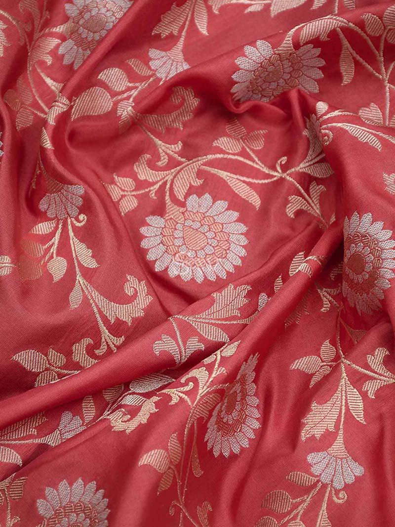 Rose Pink Katan Silk Banarasi Handloom Saree - Sacred Weaves