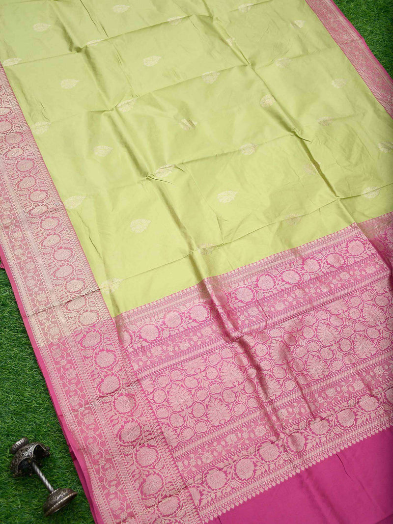 Pista Green Color Gold Zari Broad Border Pure Katan Silk Banarasi Saree - Sacred Weaves