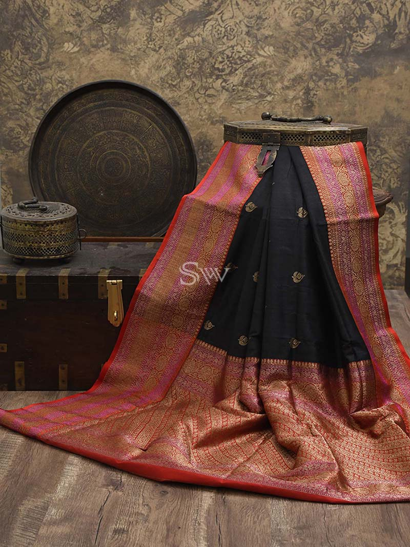 Black Tusser Silk Handloom Banarasi Saree - Sacred Weaves