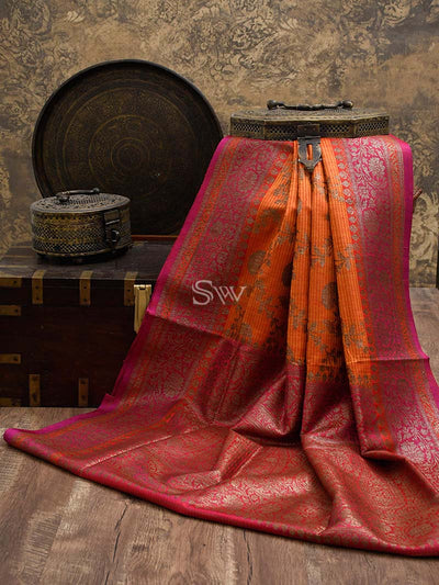 Orange Color Stripe Antique Zari Pure Dupion Silk Banarasi Saree - Sacred Weaves