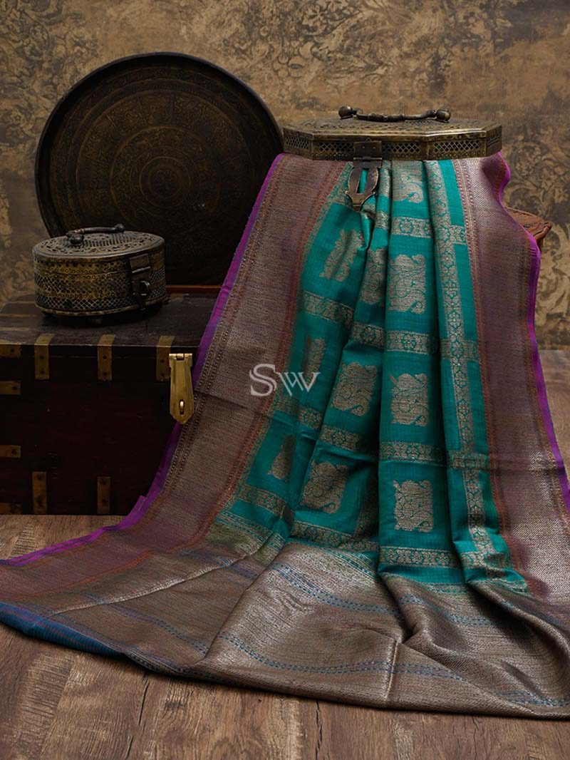 Sea Green Dupion Silk Handloom Banarasi Saree - Sacred Weaves
