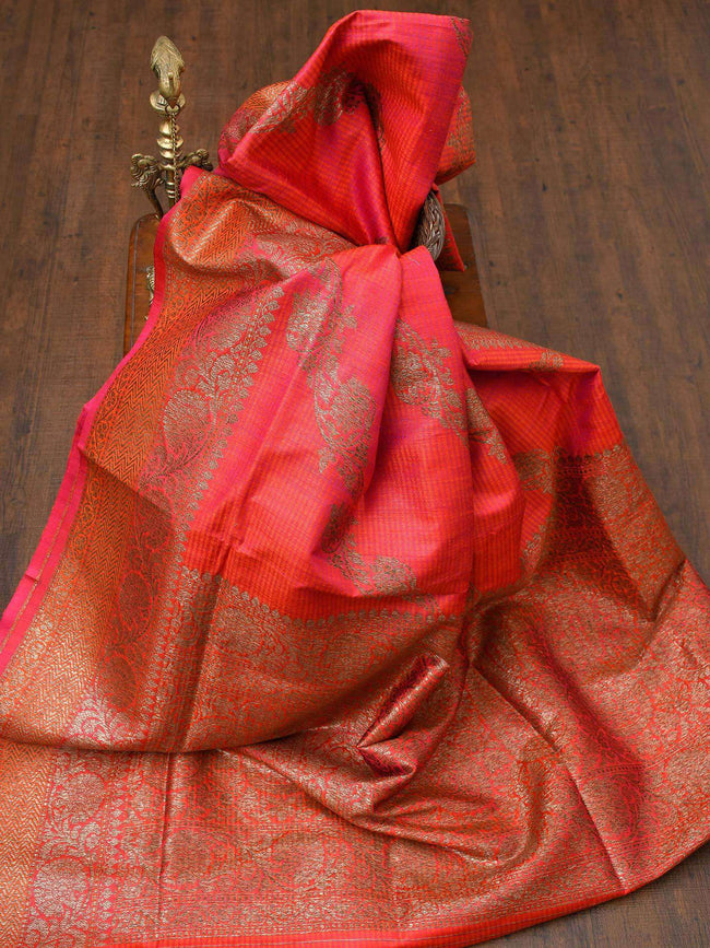 Pink Orange Stripe Antique Zari Leheriya Pure Dupion Silk Banarasi Saree - Sacred Weaves
