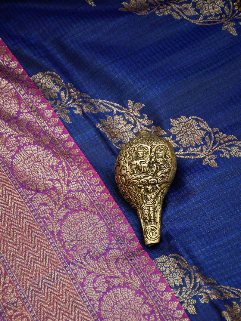 Blue Color Antique Zari Leheriya Pure Dupion Silk Banarasi Saree - Sacred Weaves