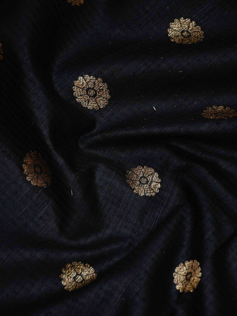 Striking Black Color Antique Zari Floral Booti Pure Dupion Silk Banarasi Saree - Sacred Weaves