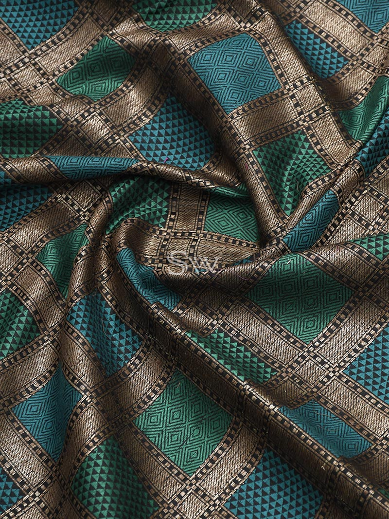 Black-Green Dupion Silk Handloom Banarasi Saree - Sacred Weaves
