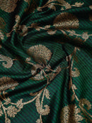 Dark Green Color Antique Zari Pure Dupion Silk Banarasi Saree - Sacred Weaves