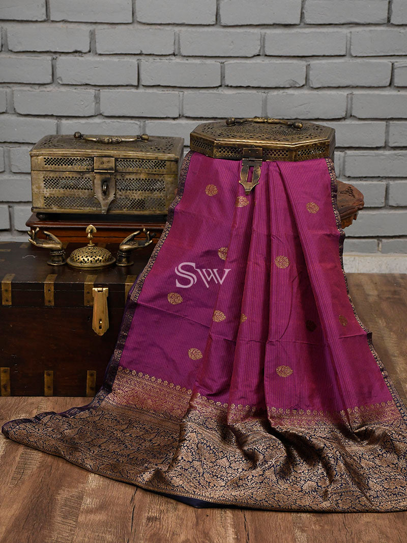 Dark Magenta Stripe Katan Silk Handloom Banarasi Saree - Sacred Weaves