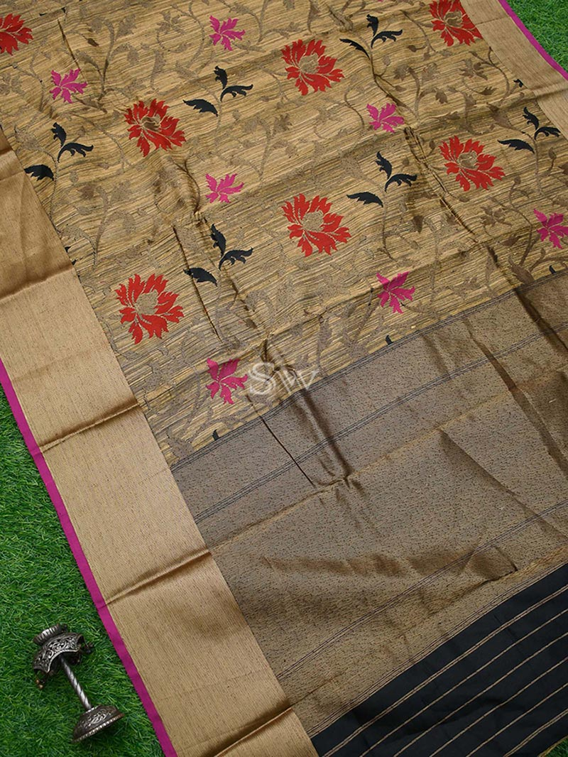 Beige Color Antique Zari Pure Dupion Silk Banarasi Saree - Sacred Weaves