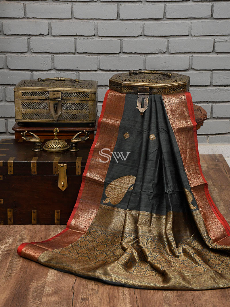 Dark Grey Tussar Silk Handloom Banarasi Saree - Sacred Weaves