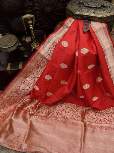 Gorgeous Red Gold Zari Broad Border Pure Katan Silk Banarasi Saree - Sacred Weaves