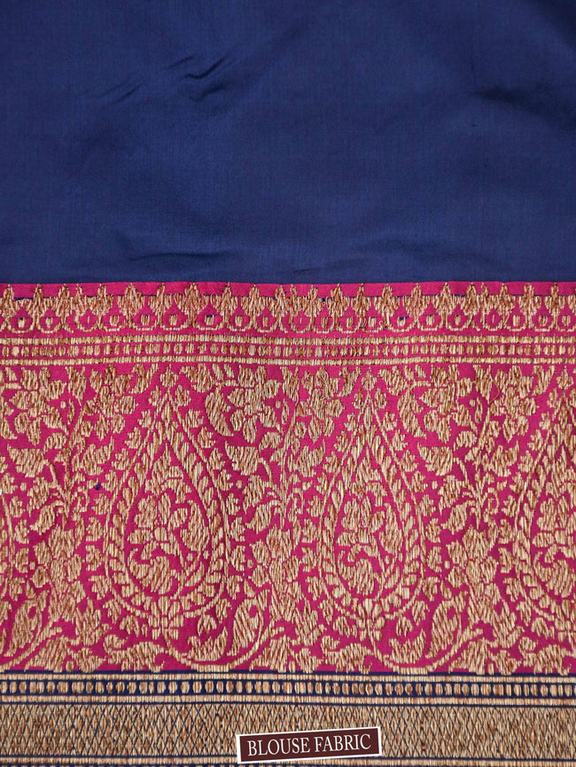 Red Antique Zari Contrast Broad Border Pure Katan Silk Banarasi Saree - Sacred Weaves