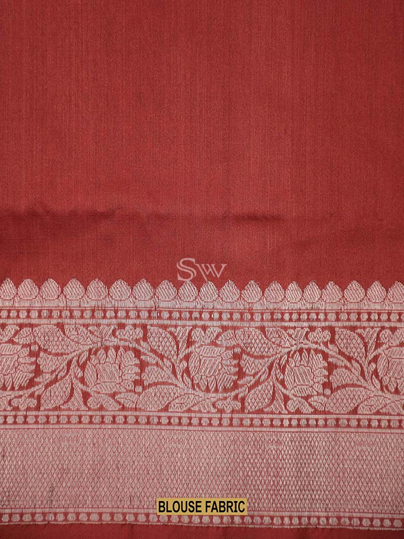 Red Tussar Silk Handloom Banarasi Saree - Sacred Weaves