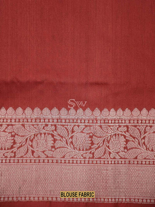 Gorgeous Red Color Floral Broad Border Pure Tussar Silk Banarasi Saree - Sacred Weaves