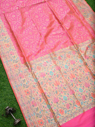 Gorgeous Pink Color Paithani Design Pure Katan Silk Banarasi Saree - Sacred Weaves