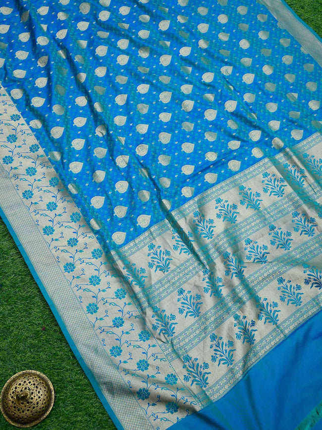 Gorgeous Blue Color Gold Zari Broad Border Pure Tanchoi Silk Banarasi Saree - Sacred Weaves