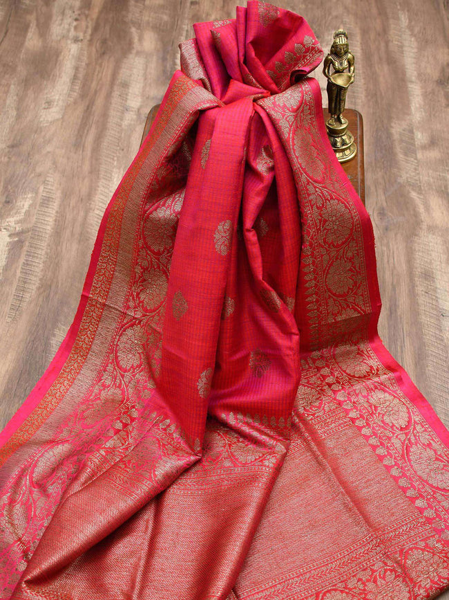 Vibrant Magenta Antique Zari Pure Dupion Silk Banarasi Saree - Sacred Weaves