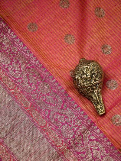 Rustic Pink Color Antique Zari Floral Booti Pure Dupion Silk Banarasi Saree - Sacred Weaves