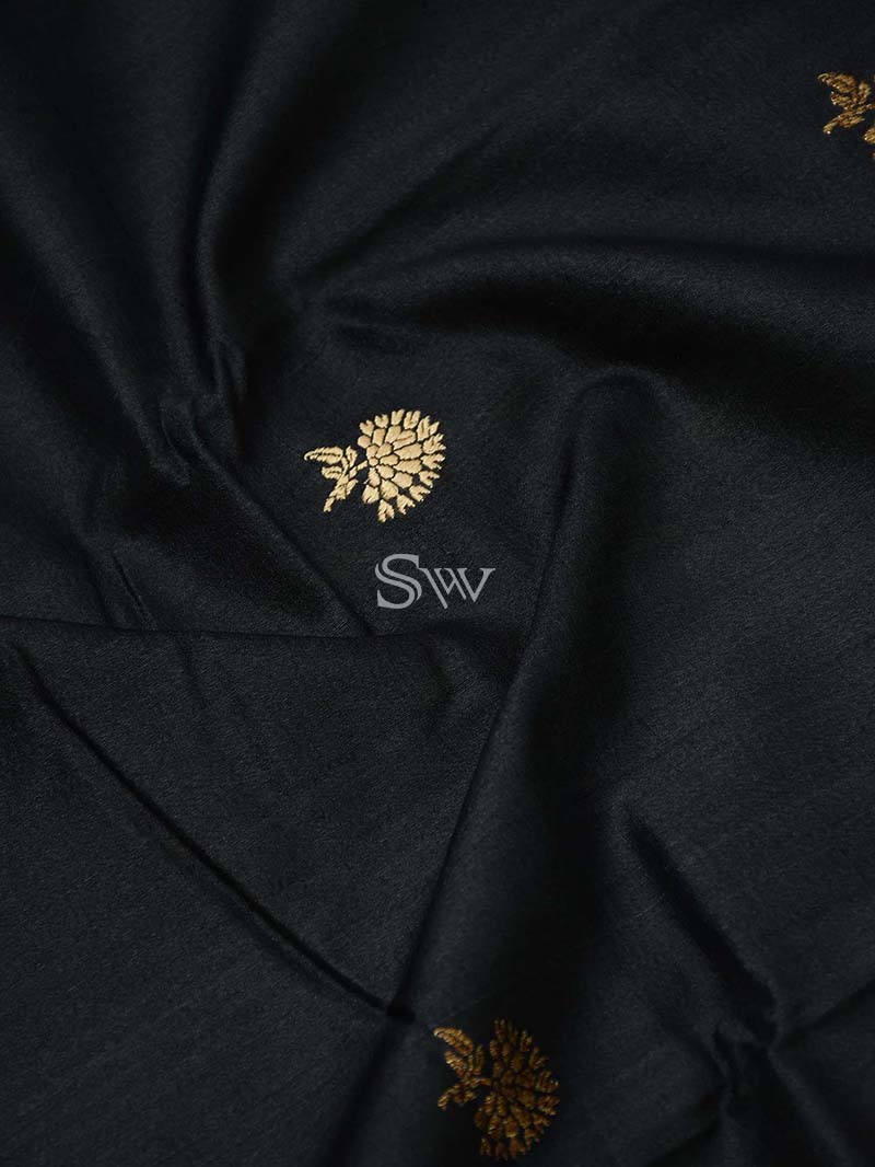 Black Tussar Silk Handloom Banarasi Saree - Sacred Weaves
