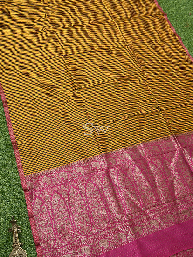 Orange-Black Katan Silk Handloom Banarasi Saree - Sacred Weaves