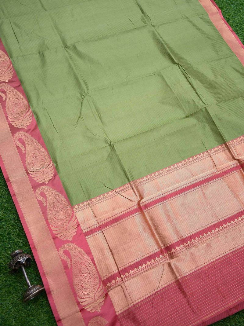 Pista Green Color Paisley Border Pure Katan Silk Banarasi Saree-Sacred weaves