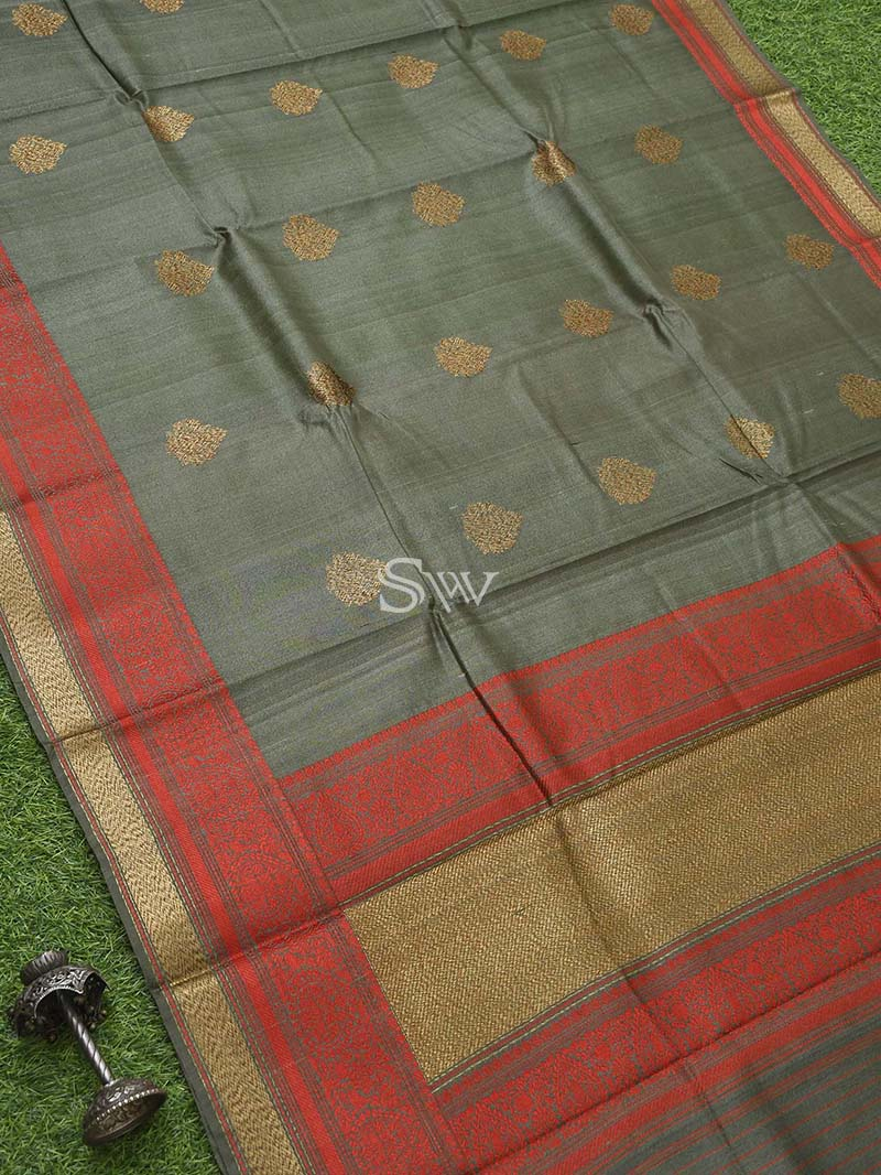 Moss Grey Tussar Silk Handloom Banarasi Saree - Sacred Weaves