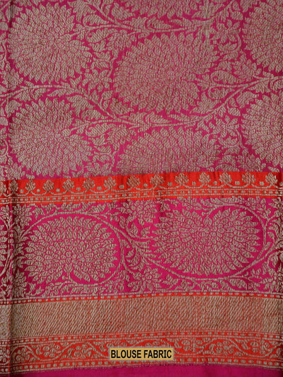 Gorgeous Red Contarst Border Antique Zari Pure Katan Silk Banarasi Saree - Sacred Weaves