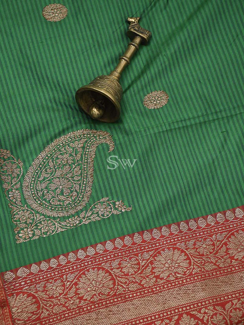 Dark Green Stripe Katan Silk Handloom Banarasi Saree - Sacred Weaves