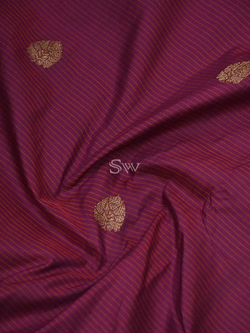 Purple Orange Stripe Katan Silk Handloom Banarasi Saree - Sacred Weaves