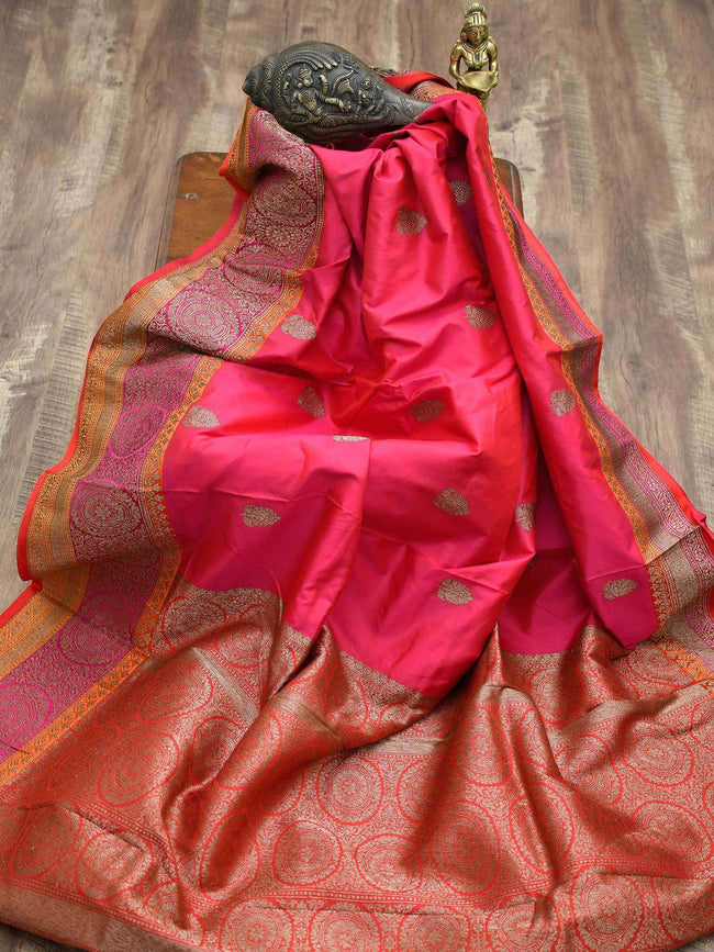 Vibrant Pink Color Contrast Border Antique Zari Pure Katan Silk Banarasi Saree - Sacred Weaves