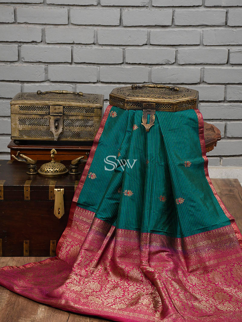 Teal Green Blue Katan Silk Handloom Banarasi Saree - Sacred Weaves